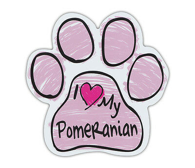 Pink Scribble Paws: I LOVE MY POMERANIAN | Dog Paw Shaped Car Magnets