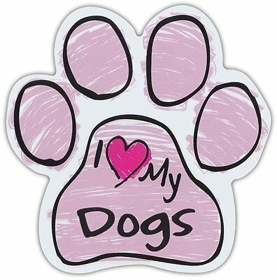 Pink Scribble Paws: I LOVE MY DOGS | Dog Paw Shaped Car Magnets