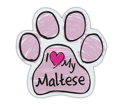 Pink Scribble Paws: I LOVE MY MALTESE | Dog Paw Shaped Car Magnets