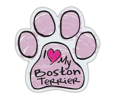 Pink Scribble Paws: I LOVE MY BOSTON TERRIER | Dog Paw Shaped Car Magnets