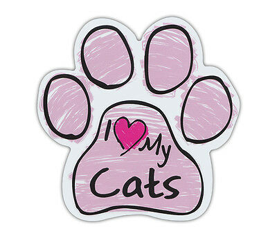 Pink Scribble Paws: I LOVE MY CATS | Cat Paw Shaped Car Magnets