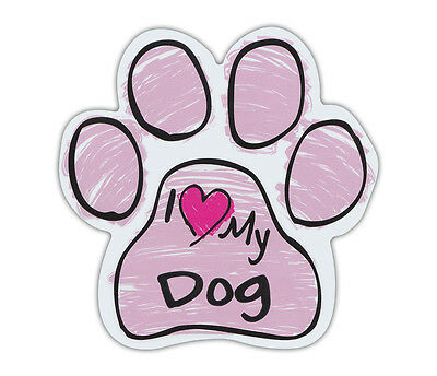 Pink Scribble Paws: I LOVE MY DOG | Dog Paw Shaped Car Magnets