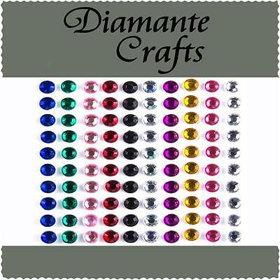 100 x 5mm Mixed Colour Diamante Self Adhesive Rhinestone Body Vajazzle Gems