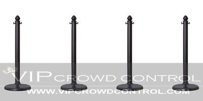 4 Pcs C-Hook Plastic Stanchion In Black, Vip Crowd Control