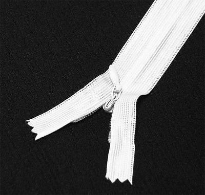 "16"" / 41cm.  Bright White Closed End Coil Invisible Zippers by 10 pcs."