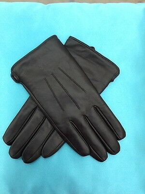 Men Classic 100% Lambskin Leather Touch Screen Driving Gloves Wool Lined Black