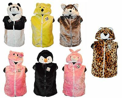 Children's Kids Animal face Hooded Faux Soft Furry Lined Gilet Body Warmer