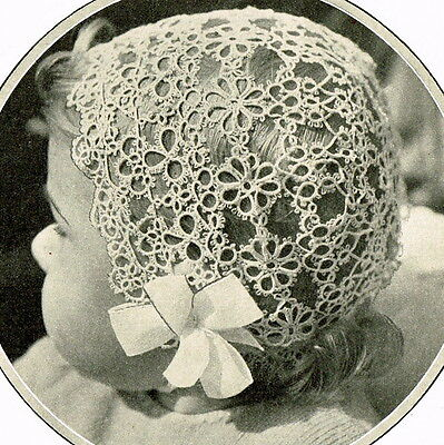 Vintage tatting pattern for pretty lace sweet babies christening bonnet