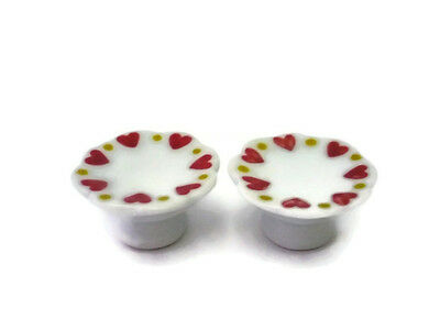 Set of 2 Heart Painted Stand Cake & Bakery Dollhouse Miniatures Ceramic Food