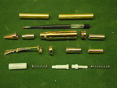 Woodturning BULLET Ball Point Click Pen Kit in Gold / Copper
