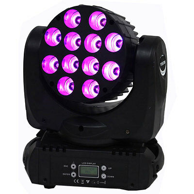 YISCOR 120W 12LED RGBW LED Moving Head Spot Beam Stage Party Light DMX Lighting