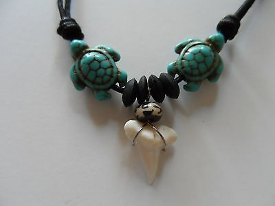"Island Surfer Beach Necklace ""Two-Blue-Sea-Turtles-Shark-Tooth"" CHECKOUT-R-STORE"