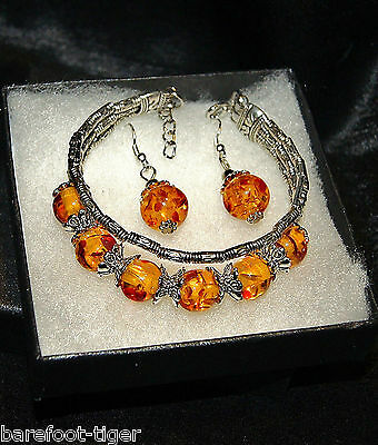 Barefoot Hippy Acrylic Amber Bead and Silver Plate Bracelet & Earrings set