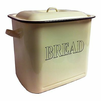 Falcon Enamel 34Cm Oblong Bread Bin With Lid - Cream  - Free Uk Postage