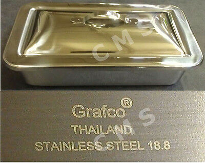 "GRAFCO Stainless Steel Instrument Tray W/ Lid 8-7/8""x5""x2"" Medical Dental Tattoo"