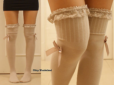 Tan lace bow stockings over knee socks thigh-highs lolita gothic cosplay costume