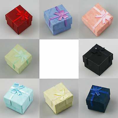 New Wholesale Lots 24pcs RANDOM Color Jewelry Ring Earring box Gift Box 4*4*3cm