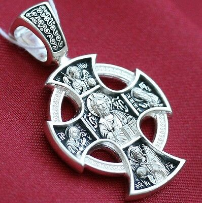 RUSSIAN GREEK ORTHODOX ICON CROSS, STERLING SILVER 925. OLD STYLE - CELTIC