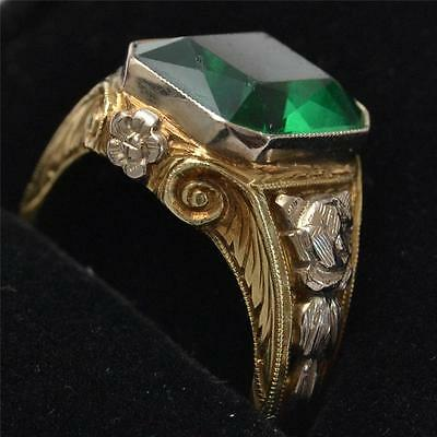 Antique 14k Gold Ring with Emerald, Marked