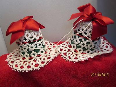2 Vintage Hand Crafted Starched Bells Christmas Decorations