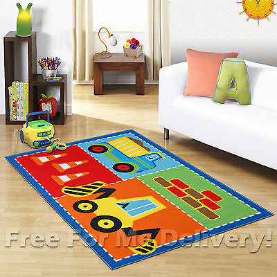 KIDS EXPRESS TRUCK & DIGGER FUN FLOOR RUG (XS) 100x130cm **FREE DELIVERY**