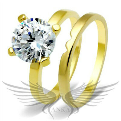 2.75Ct Russian Lab Sim Diamond Engagement Anniversary Ring + Band 14K Gp Gl070