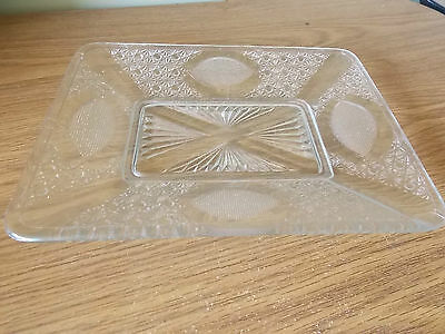 Vintage Antique Collectable Pressed Glass Serving Plate
