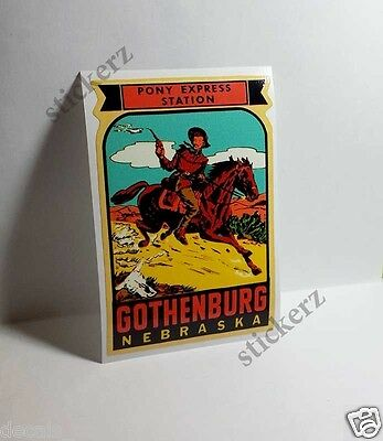 Gothenburg Nebraska Pony Express Vintage Style Travel Decal / Vinyl Sticker