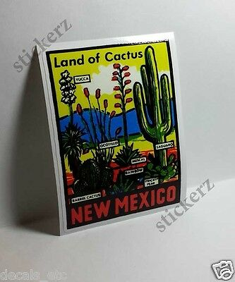 New Mexico Cactus Vintage Style Travel Decal / Vinyl Sticker, Luggage Label
