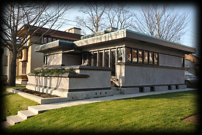 Small single story, 2 bedroom home design by Frank Lloyd Wright, Prairie School