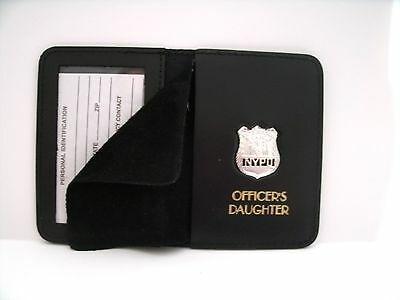 NYPD Style Officer's Daughter Courtsey Badge Wallet With/Mini Badge & Gold Print