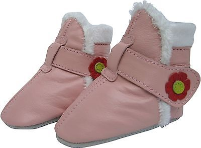 carozoo morning glory pink 12-18m new soft sole leather baby shoes