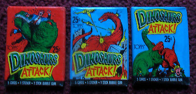 Unopened Pack Lot of 3 Diff 1988 Topps DINOSAURS ATTACK Trading Cards Wax Packs