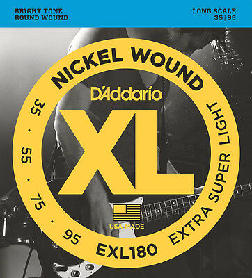 D'Addario EXL180 Extra Super Light Gauge Electric Bass Strings