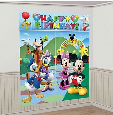 DISNEY MICKEY MOUSE CLUBHOUSE Scene Setter HAPPY BIRTHDAY Party wall decor