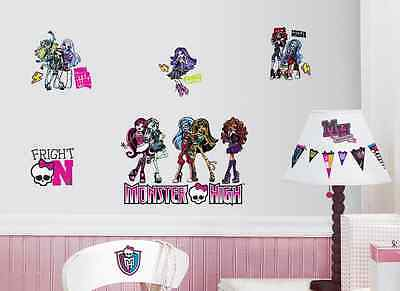MONSTER HIGH wall stickers 37 decals Abbey Draculaura Ghoulia scrapbook stickups