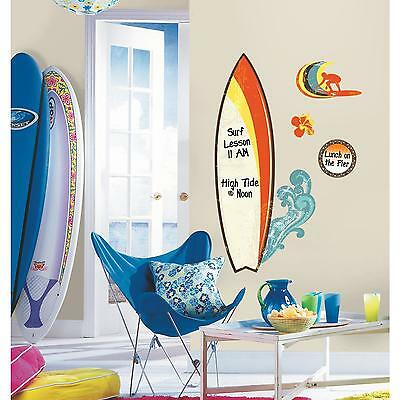 "SURF'S UP wall stickers 11 decals 36"" DRY ERASE MURAL Ocean Beach Waves w/pen"
