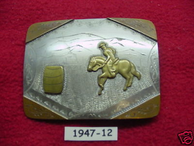 OLD HAND MADE ENGRAVED Cowboy Barrel Racing Rodeo Buckle Maybe Prison MAKE OFFER