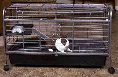 LIVING ROOM SERIES QUALITY TWO LEVEL RABBIT INDOOR HUTCH CAGE WITH FOOD DISH