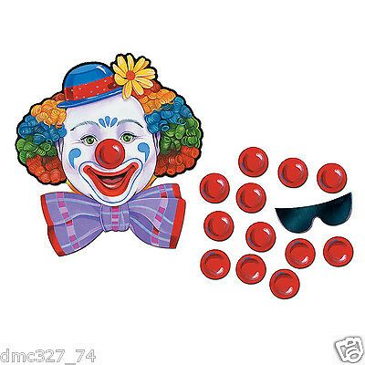 2 CIRCUS CARNIVAL Birthday Party Game PIN THE NOSE ON THE CLOWN for 24 guests