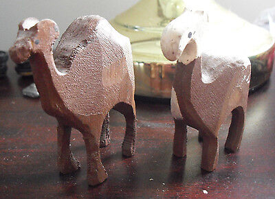 "Unique Lot of 2 Primitive  Vintage Carved Wood Camel Figurines 2 3/4"" Tall LOOK"