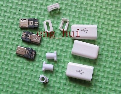 White Micro USB b 5 Pin Male DIY Plug Connector Socket with Plastic Cover 5 pcs