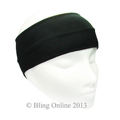 BLACK 10cm WIDE STRETCH FABRIC HEADBAND HAIR BAND GYM RUNNING FOOTBALL SPORTS.