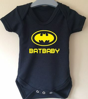 Batbaby Batman Wings Retro Slogan Baby Body Grow Suit Vest Girl Boy Gift Idea