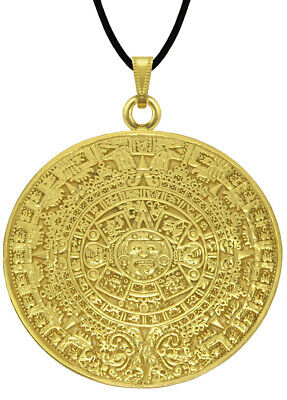 "ACROSS THE PUDDLE 24k GP Pre-Columbian Aztec Solar Calendar 2"" Pendant Necklace"