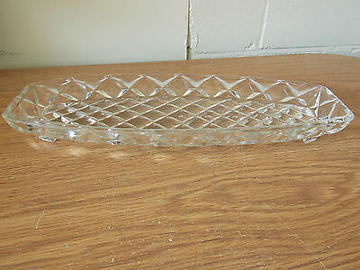 Vintage Antique Collectable Retro Funky Crystal Serving Tray Diamond Pattern