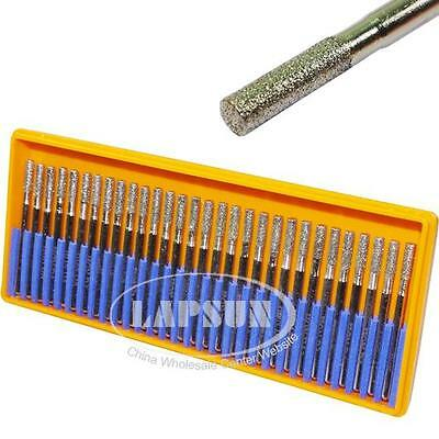 30pc 3mm Diamond Coated CYLINDRICAL Cylinder Rotary Pointed Head Burrs Drill Bit