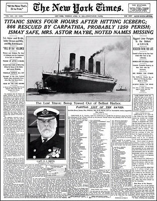 Titanic Sinks Photo Large 11X14 - 1912 New York Times Newspaper Front Page