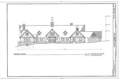 Tudor style home plans, architectural drawings, timber frame, ironwork details