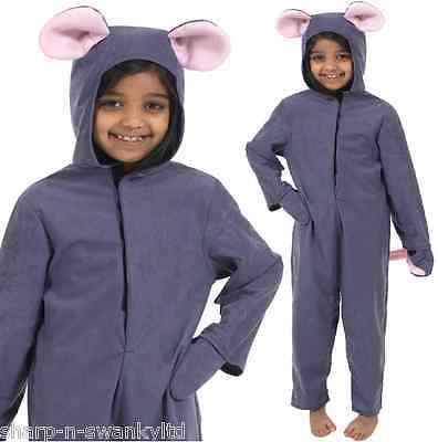 UK Made Boys Girls Grey Mouse Animal Book Day Fancy Dress Costume Outfit 4-10yrs